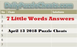 Seven Little words answers April1 3 2018, 7 Little words answers