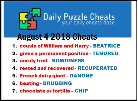 7 Little Words August 4 2018 daily puzzle solutions