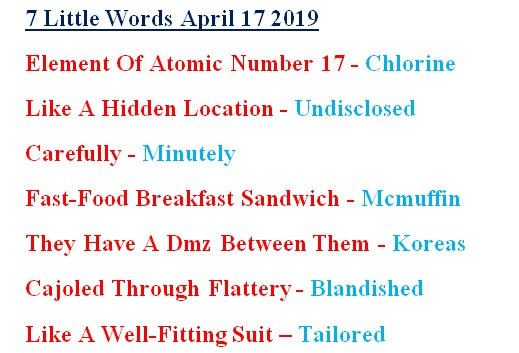 7 Little Words April 17 answers