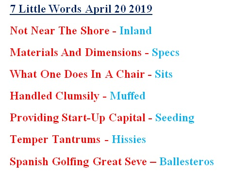 7 little words April 20 answers